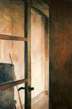 """Gitte Reinwald: """"Dør på klem"""", 80 x 52 cm. Oliepastel på lærred (udsnit)."""